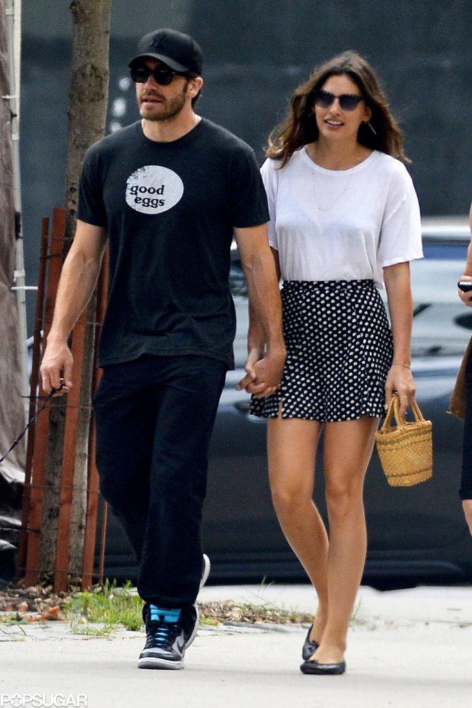 Jake Gyllenhaal held hands with girlfriend Alyssa Miller.