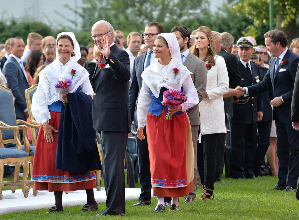 Queen Silvia, King Carl XVI Gustaf, Prince Daniel, and Crown Princess Victoria dressed up for the Victoria Day concert.