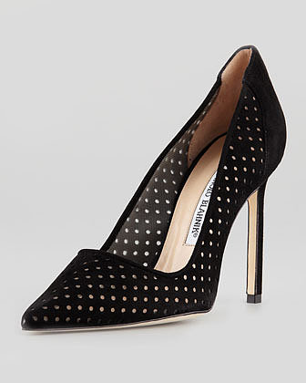 MANOLO BLAHNIK BB Perforated Suede Pump, Black