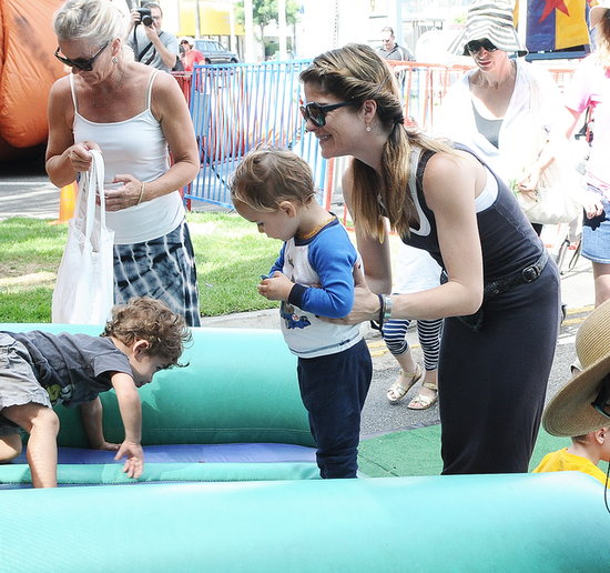 Selma Blair played with her son, Arthur Bleick, at the farmers market in LA on Sunday.