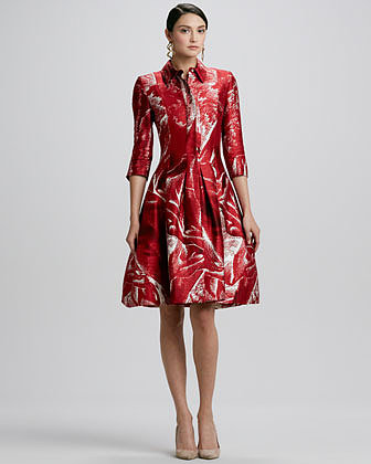 Oscar de la Renta Versailles-Print Collared Shirtdress, Ruby