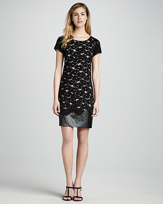 Phoebe Couture Lace & Faux-Leather Combo Dress