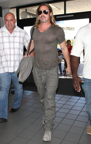 Brad Pitt caught a departing flight out of LAX.