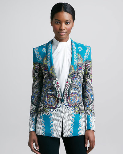 Etro Shawl-Collar Printed Jacket, Teal/Multicolor