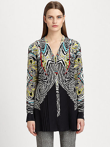 Etro Printed Pleated Silk Tunic