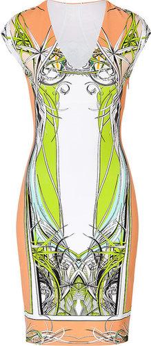 Roberto Cavalli V-Neck Jersey Dress in Pink/Orange-Multi