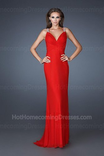 Two Gorgeously Beaded Straps Long Sexy Red Sweetheart Homecoming Dress Sale