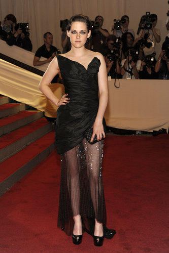 Stewart brought moody glamour to the 2010 Met Gala in a structured, sheer-overlay Chanel gown.