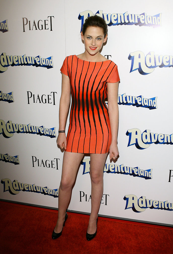 Stewart brightened up Adventureland's 2009 LA premiere in a vibrant printed Herve Leger.