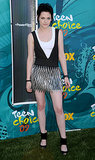 Stewart stepped up the rock factor, donning a Rock & Republic metal mini with ankle-cuff sandals, at the 2009 Teen Choice Awards.