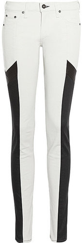 Rag & bone JEAN The Grand Prix leather-paneled twill leggings-style jeans
