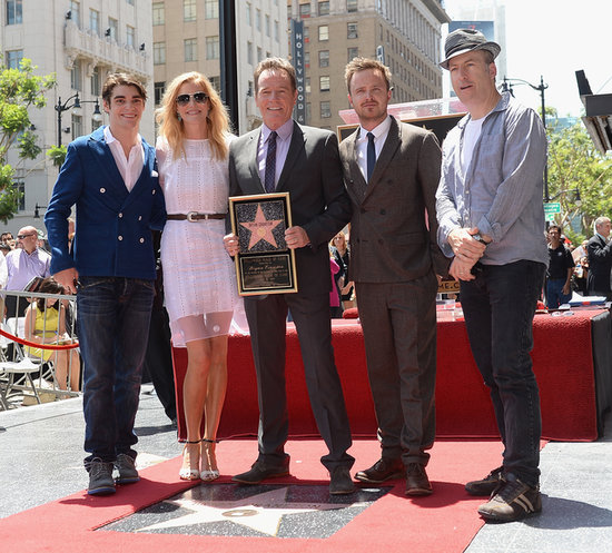 Bryan Cranston posed with fellow Breaking Bad stars R.J. Mitte, Anna Gunn, Aaron Paul, and Bob Odenkirk.