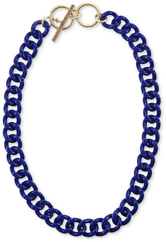 RACHEL Rachel Roy Necklace, Gold-Tone Blue Chain Link Collar Toggle Necklace