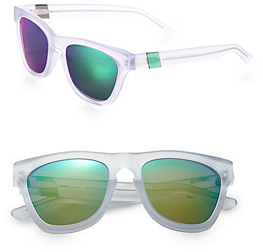 Westward Leaning Color Revolutions Acetate Square Sunglasses/White & Neon Green