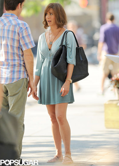 Jennifer Aniston wore a brown wig on the set of her new film on July 17.