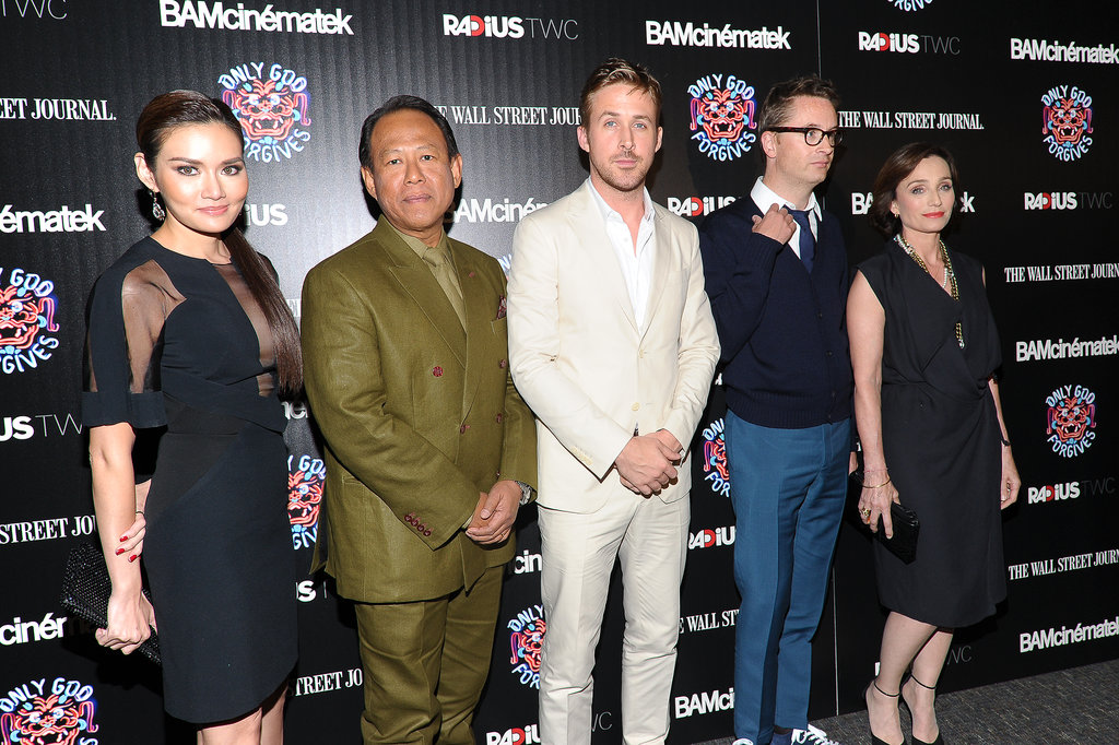 Ryan Gosling and Kristin Scott Thomas posed with director Nicolas Winding Refn and the rest of the cast.
