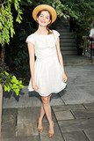 Nora Zehetner was adorable in a white lace dress and a straw hat at a Summer soiree in NYC.
