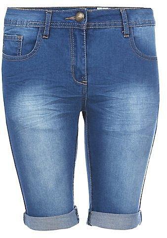 Blue Knee Length Denim Shorts