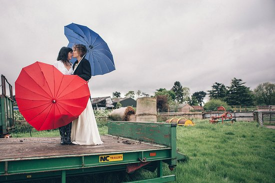 Red and Blue Heart Umbrellas