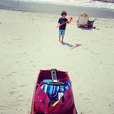 Beach bag + beach boy = Summer fun! Source: Instagram user annehatton