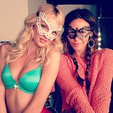 Candice Swanepoel accessorized with a masquerade mask during a Victoria's Secret shoot. Source: Instagram user angelcandices