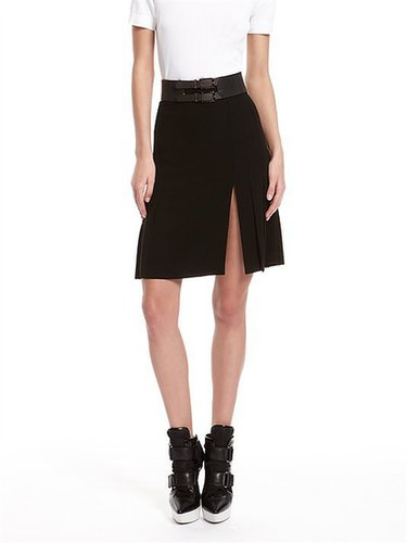 Luxe Crepe Pleated Skirt With Front Slit