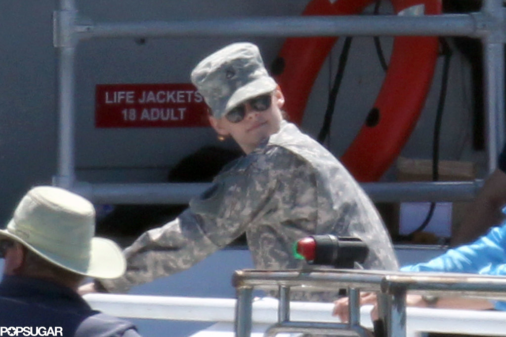 Kristen Stewart wore a full Army uniform while filming Camp X-Ray in LA on Wednesday.