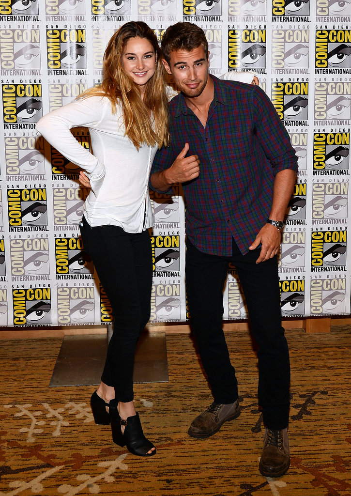Shailene Woodley and Theo James joked around in the Comic-Con press line.