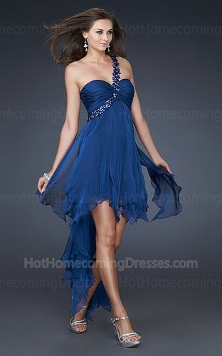 Elegant Short High Low One Shoulder Sweetheart Homecoming Dress Midnight Blue