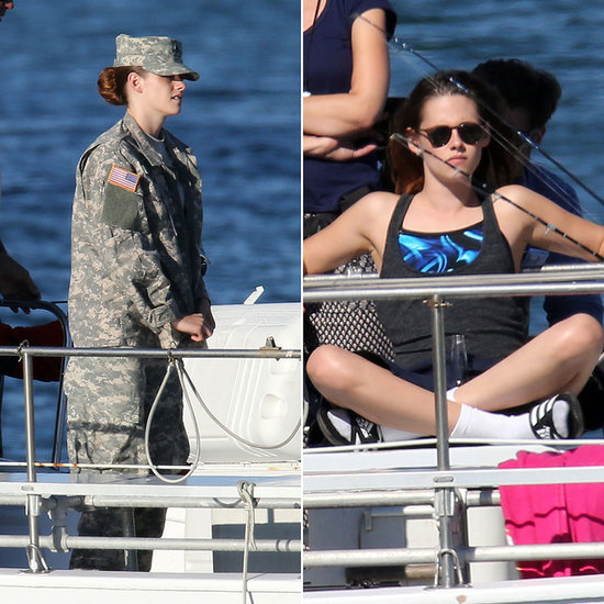 Kristen Stewart Reports For Duty on Set in Army Fatigues
