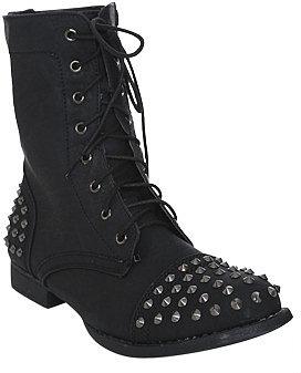 WetSeal Minka Short Combat Boot Black