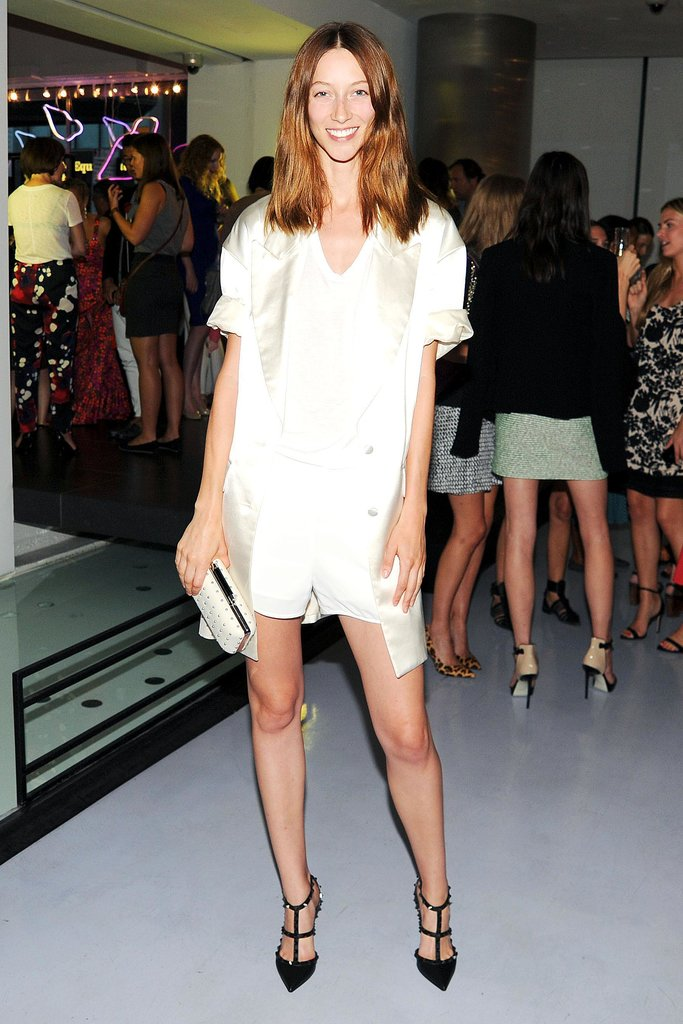 At DVF's NYC event, Alana Zimmer worked her gams in a leg-baring combo.