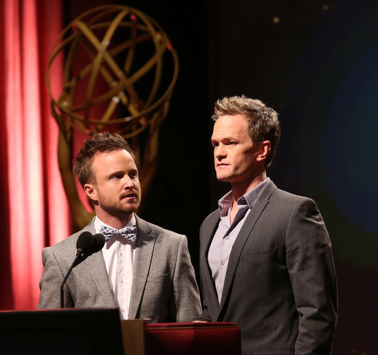 Neil Patrick Harris with Aaron Paul, who was nominated for an Emmy.