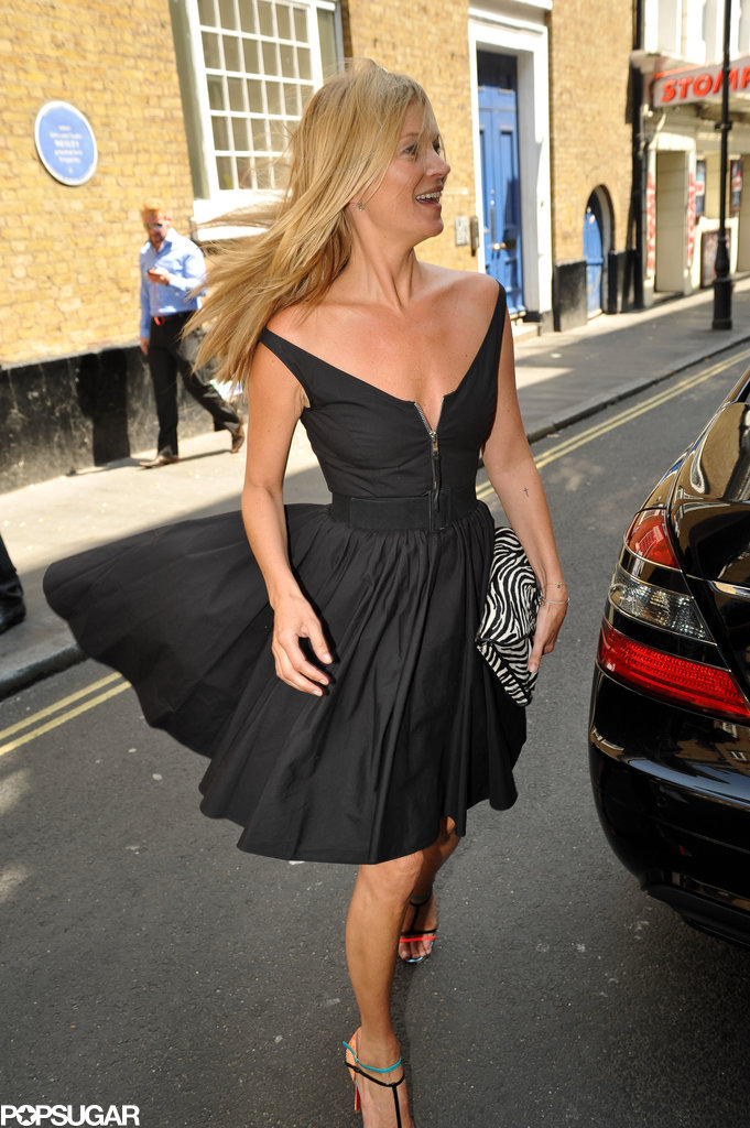 Kate Moss's dress flew up in the wind.