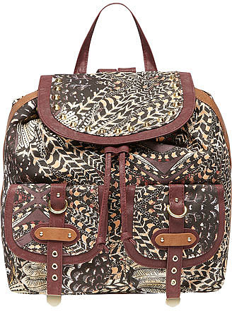 Aztec feather print backpack