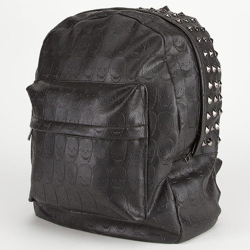 Faux Leather Skull Stud Backpack