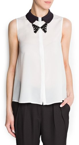 Crystals bow-tie necklace blouse