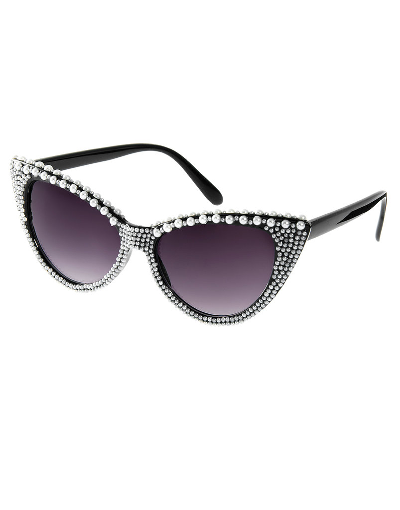 Go bold with Jeepers Peepers' black and white, pearl-adorned cat-eye shape ($15, originally $31).
