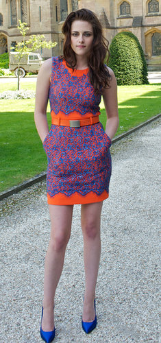 We love the cobalt and tangerine combo of Stewart's Preen dress in May 2012.