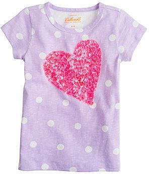 Girls' dot tee with sequin heart
