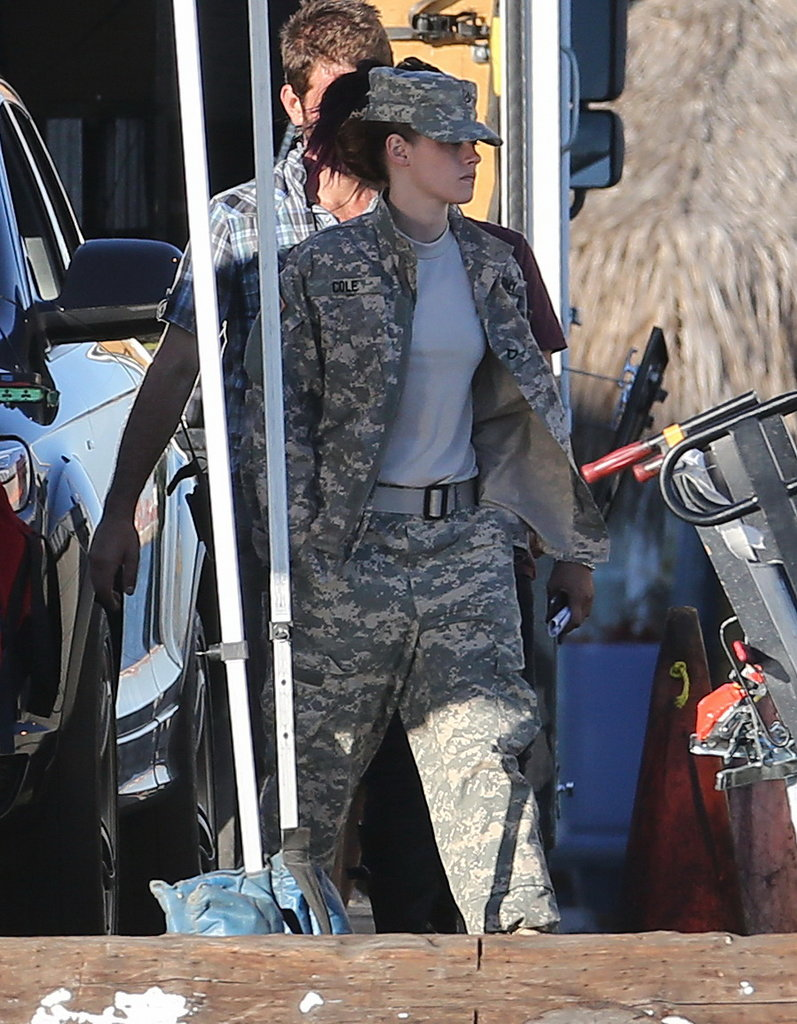 Kristen Stewart got to work on her new film, Camp X-Ray, in LA on Wednesday.