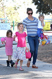 Jennifer Garner had all three kids — Seraphina, Violet and Samuel — in tow when she hit a play park in Pacific Palisades on July 15.