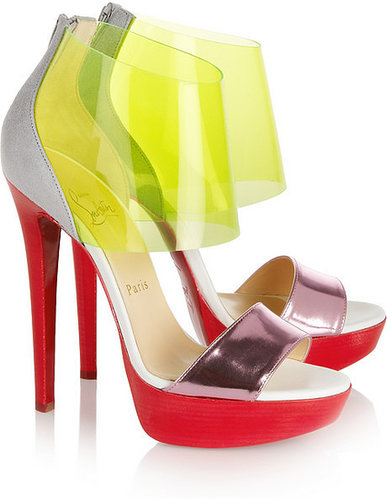 Christian Louboutin Dufoura metallic-leather, PVC and suede sandals