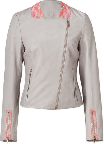 Matthew Williamson Silver Grey-Multi Embroidered Leather Jacket