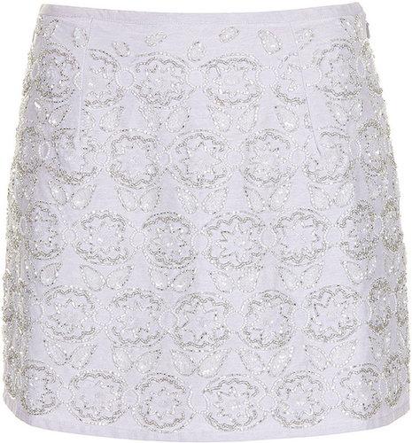 Lilac Embellished Mini Skirt