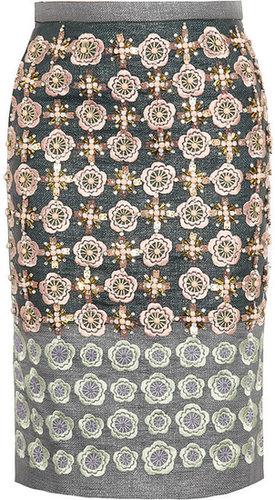 Biyan Martijn embellished canvas pencil skirt