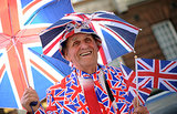 A man wore his most patriotic gear outside St. Mary's Hospital in London.