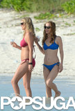 Kate Upton and Leslie Mann sipped cocktails in the ocean.