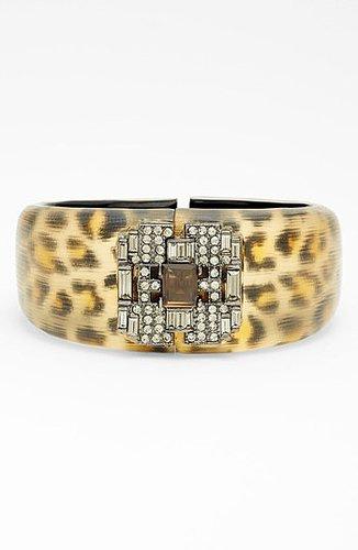 Alexis Bittar 'Lucite - Leopard Deco' Hinged Bracelet (Nordstrom Exclusive) Brown