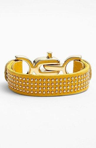 Natasha Couture Studded Leather Bracelet Mustard